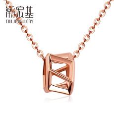 潮宏基珠宝 空间系列-红18k金项链玫瑰金套链坠链女