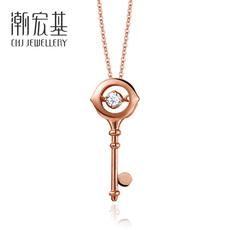 潮宏基珠宝 智慧之眼 18k金玫瑰金彩金钻石项链套链坠链