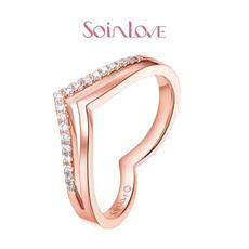 SOINLOVE甜心系列18K玫瑰金鑲鉆戒指鉆戒VU4女送禮推薦