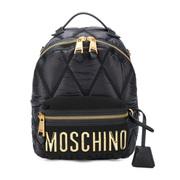 【香港直邮】 Moschino 莫斯奇诺 女士黑色尼龙英文logo双肩包 7B7605-8207-1555