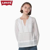 Levi's李维斯女士白色圆领纯棉长袖衬衫39559-0000