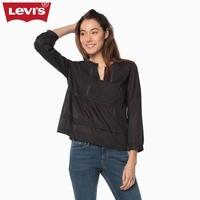 Levi's李维斯女士黑色圆领纯棉长袖衬衫39559-0001