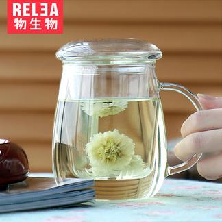 物生物蘑菇杯大号500ml 耐热创意玻璃杯夏天水杯女带盖杯子 过滤透明花茶杯