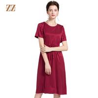 佐尔美2018夏季新品真丝时尚纯色条纹收腰桑蚕丝连衣裙E82LS10