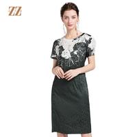 佐尔美2018夏季新品时尚印花不规则设计修身桑蚕丝连衣裙E82LS24