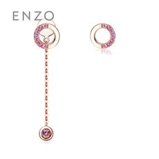 enzo珠寶 親親抱抱系列 14K金鑲嵌多色彩色寶石耳釘耳線