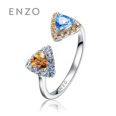 enzo珠寶 親親抱抱系列 14K金鑲托帕石黃晶雙色寶石戒指