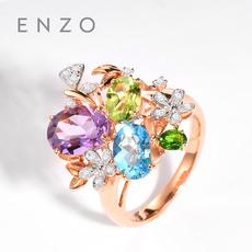 enzo珠宝 彩虹花园 18K金镶嵌彩色宝石时尚彩虹花球戒指
