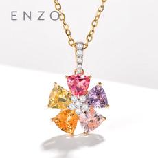 enzo珠宝 彩虹花园 18K金镶嵌彩色宝石时尚彩虹花朵吊坠