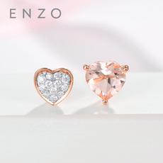 enzo珠寶 彩虹花園 18K玫瑰金摩根石及鉆石耳飾心形耳釘