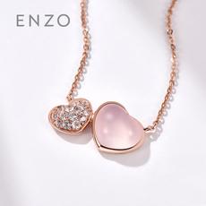 enzo珠寶 彩虹之心18K玫瑰金鑲嵌白色藍寶石芙蓉石項鏈