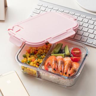 物生物分隔微波炉玻璃饭盒微波专用密封盒分格便当盒创意保鲜盒大容量
