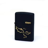 zippo打火机 美国原装黑裂漆恶魔之翼打火机