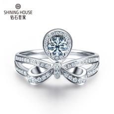 钻石世家 18K金钻石戒指豪华群镶钻戒结婚订婚戒指