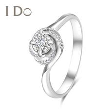 I Do Flower系列18K金鉆戒女群鑲求婚鉆石戒指