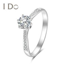 I Do Destiny系列18K金鉆戒女六爪結婚戒指50分