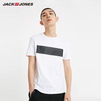 杰克琼斯男士春季立体字母胶印图案短袖 219101545
