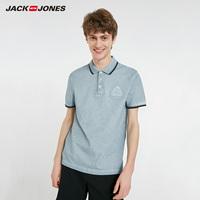 杰克琼斯春夏男撞色条纹刺绣翻领短袖T恤衫C 219106501