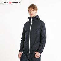 杰克琼斯春季男装百搭纯色连帽夹克短款风衣E|219121550