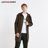 杰克琼斯冬男士休闲防风连帽反光条风衣外套C|219121555