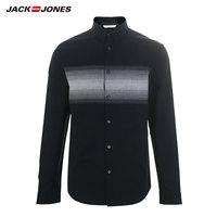 杰克琼斯春纯棉男潮条纹休闲ins长袖衬衫衣 219105561