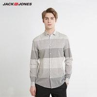 杰克琼斯春男装宽条纹拼接修身休闲长袖衬衫 219105564