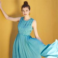 Vero Moda2019夏季新款编织设计开叉底摆雪纺连衣裙|31927A574