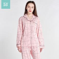 爱帝2019新款女式长袖长裤家居套简约女空调服套图案睡衣女**套