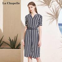 拉夏貝爾2019新款女裝夏季短袖V領黑白條紋職業收腰中長連衣裙子10020985