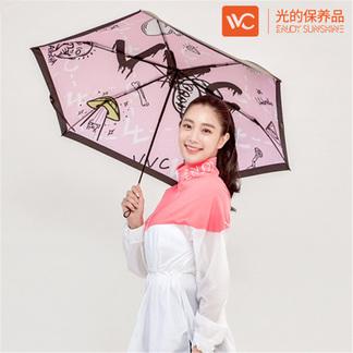 韩国VVC防晒伞雨伞女超轻防紫外线折叠晴雨两用遮太阳小清新黑伞