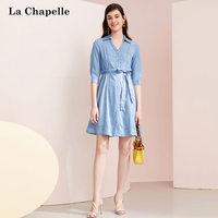 拉夏貝爾法式氣質襯衫連衣裙2019新款夏季時尚收腰a字牛仔裙子女10021168
