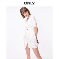 ONLY2019秋季新款法式復古含亞麻松緊腰短款連衣裙女119107626S12
