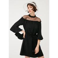 ONLY2019秋季新款黑色波点蕾丝收腰连衣裙女 119207574