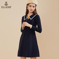 Eland2019秋冬新款polo领针织连衣裙收腰修身长袖EEOK949Q1N