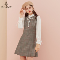 ELAND2019秋季新款复古风格纹拼接假两件长袖连衣裙女EEOW949H3M