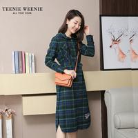 Teenie Weenie小熊2019冬季新款女衬衫裙绿色格子连衣裙TTOW94901B