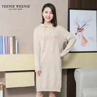 Teenie Weenie小熊2019冬季新款女装连帽针织显瘦连衣裙TTOK94T06B
