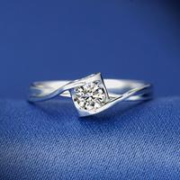 兆亮珠宝 一口价钻戒 钻石戒指11#女结婚求婚订婚戒指砖戒钻石18K白金