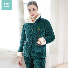 爱帝冬季加绒加厚保暖家居服女ins时尚夹棉睡衣学生外穿居家服套