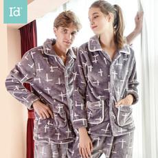 爱帝情侣居家服女加绒中厚法兰绒家居服男套装珊瑚绒保暖外穿睡衣