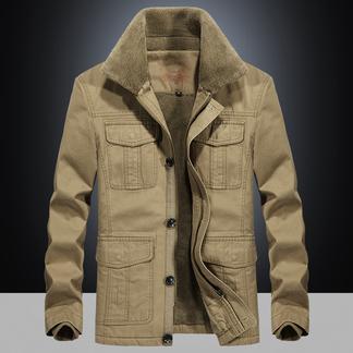 梵诗町 男装纯棉外套水洗加厚毛领A夹克9862A加绒