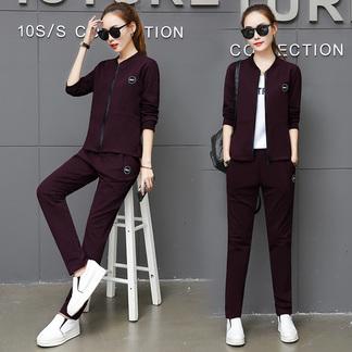 梵诗町 女装春秋长袖休闲运动套装韩版宽松两件套8822