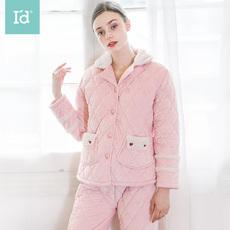爱帝冬季加绒加厚保暖家居服女时尚夹棉睡衣学生外穿御寒居家服套