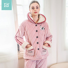 爱帝冬季家居服女加绒加厚保暖时尚夹棉睡衣学生外穿御寒居家服套