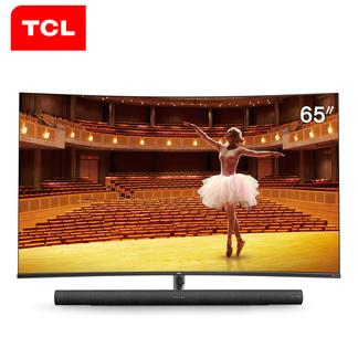 TCL 65C7 65英寸 4K超高清 曲面全面屏 哈曼卡顿音响 智能网络 语音操控 HDR 液晶电视 家用客厅壁挂