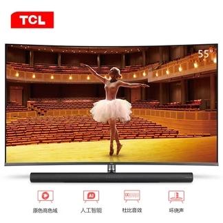 TCL 55C7 55英寸 4K超高清 曲面全面屏 哈曼卡顿音响 智能网络 语音操控 HDR 液晶电视
