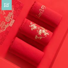 爱帝内裤女**中腰大红色结婚喜庆本命年礼物底裤头透气三角裤衩三条盒装