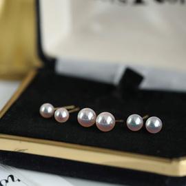 日本進口Akoya珍珠耳釘 鏡面光akoya耳釘 耳環耳飾 18K金耳針 附禮盒包裝-小燈泡4-4.5mm規格