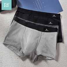 爱帝内裤男裆部棉质平角裤宽松透气四角裤中腰短裤头(3条装)