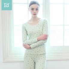 爱帝新品女式小印花蕾丝圆领长袖长裤基础薄款保暖内衣打底秋衣套装